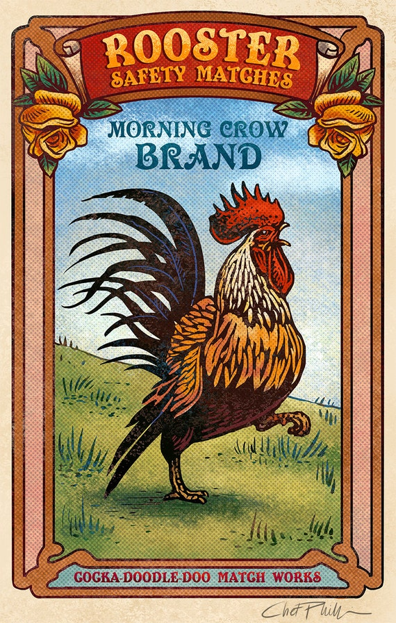 "Rooster Matchbox Art- 5"" x 7"" matted signed print"