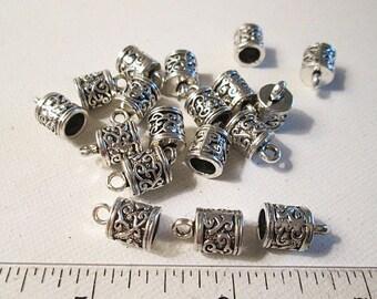 Silver Metal Caps, 13x8mm, 5mm Hole, Glue On, Leather Cord End, Tibetan Style, Tassel Cap - bm68