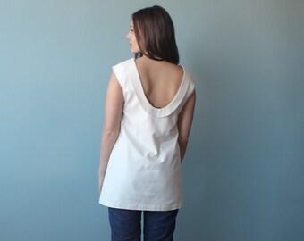silk white capped sleeve tunic | 1990s U low back top small - medium