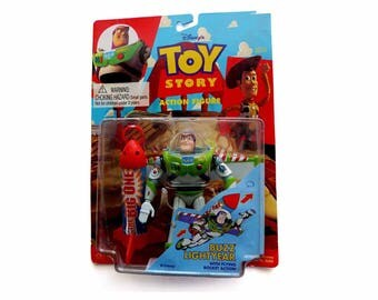 Buzz Lightyear with Flying Rocket Action 1990s Disney Toy Story Action Figure by THINKWAY Asst 62862 Item No 62864 Flying Toy PIXAR Movie