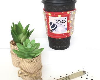 Cute coffee sleeve, cute coffee cozy, cute cup cozy, raccoon cozy, fabric coffee sleeve, gifts under 10, reusable cup cosy, gifts for teens