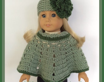 Handmade Doll Clothes Made To Fit American Girl,  Crochet 2 Pc Poncho Set, Woodlands Heather 18 Inch