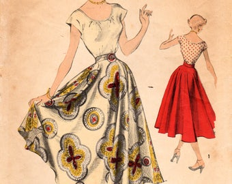 1950s Advance 5509 Vintage Sewing Pattern Misses Flared Skirt, Peasant Blouse Size 14 Bust 32