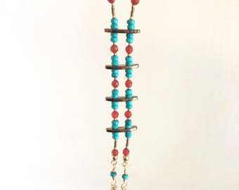 Turquoise with Carnelian Gold Necklace and Earring Set