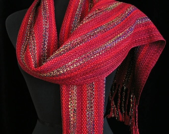 Handwoven Scarf Red Scarf Very Long Shawl Wrap Ships Priority in USA Gift for Her  Scarf - Ruby Sparkle