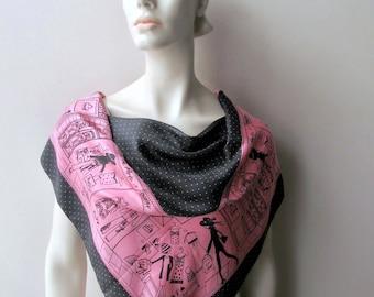 pink and black vintage echo silk scarf paris shopping spree polkadot border