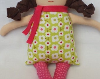 Baby safe doll, rag doll, baby doll, soft doll, handmade doll, doll, gift for a baby, gift for a girl, brown hair, flowered dress, cute