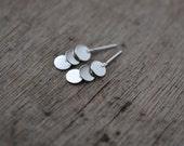 Cascading triple sequin silver earrings