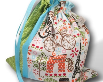 Paris Polka Dot - Duet Sheepie, A Multi-skein Project Bag for Knitting or Crochet