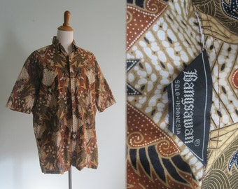 Vintage 80s Indonesian Cotton Mens Batik Shirt - Vintage Sienna and Black Indonesian Shirt - Vintage 80s Men's Shirt L XL
