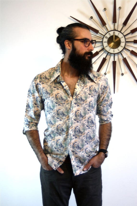 Vintage 70s LEVIS Panatela Novelty Print Shirt Nautical Sail Boats Navy Blue Long Sleeve Shirt Butterfly Collar Button Down 1970s Mens Top