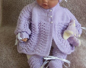 Lavender baby sweater girls or Reborn Dolls pretty Lavender Scalloped edge Sweater hat booties set Layette 0 -12M Ready To Ship