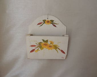 Floral Handpainted Creme Wood Letter Box. Wooden Decorated Wall Recipe Holder. Painted Wall Mail Holder. Wood Wall Hanging Organizer.