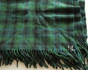 Plaid Green, Blue & Black Thick Wool Throw- Excellent Condition