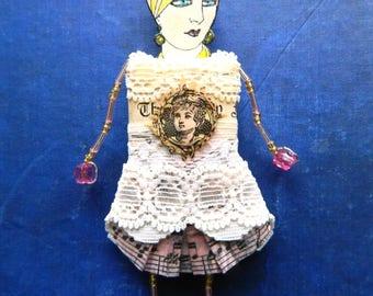 Doll brooch, Art doll brooch, Doll pin, Whimsical brooch, Vintage lady brooch, Quirky brooch, Doll  jewelry, Art pin, Novelty pin, Flapper