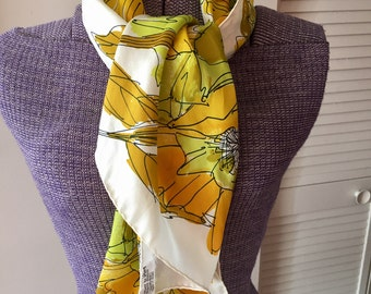 Vintage 1960s 70s Long Abstract Floral  Scarf by Vera - Lord and Taylor Silk