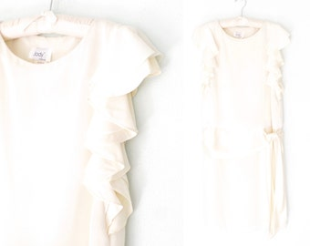 80s Party Dress * 1980s Ivory Flapper Dress * Ruffle Sleeve Dress * Small / Medium