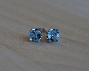 4mm Swiss Blue Topaz Argentium Silver Earrings - Nickel Free Hypoallergenic Stud Earrings