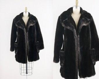 S A L E vintage faux fur coat / dark chocolate - see details