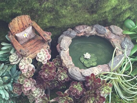 "Mini Pond, ""Lily Pad Pond"", Stone Rock Pond, Fairy Garden Accessory, Miniature Garden, Home and Garden Decor, Gift, Topper"