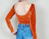 Party crasher - Long sleeve velvet bodysuit with scoop back - rust copper