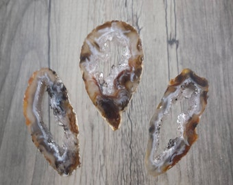 Set of 3 Natural Druzy Agate Oco Geode Slices