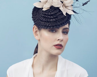 The Barthet Percher Hat, Vintage Straw Feathered Millinery for the Races.