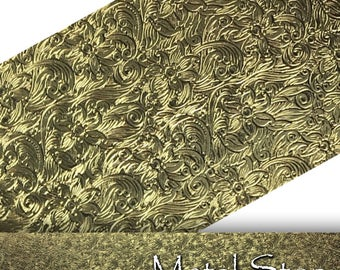 """Textured Brass Whimsical Flower and Leaf Pattern 24 gauge Sheet Metal 2.5"""" x 12"""" - Solid Brass - Great for Rolling Mills 85"""