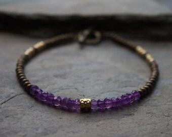 Gemstone stacking bracelet, amethyst stone bracelet, gemstone stacking bracelet, brass gold bracelet, mixed metal bracelet, amethyst