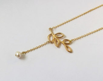 Y Necklace Gold Leaf Necklace Gold Pearl Necklace, Y Drop Necklace, Leaf Pendant Necklace, Pearl Necklace Gold, Pearl Gold Necklace
