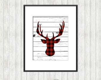 Shiplap with Buffalo Plaid Deer Print - Christmas printable Wall Art - Farmhouse style decor