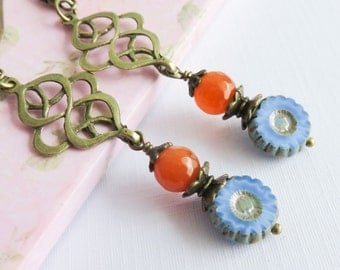 Blue bohemian earrings, long dangle earrings, colorful jewelry, gift for her, boho chic jewelry, blue with orange jewelry
