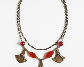 Ready to Ship Miyu Decay Palmier Necklace in Brass and Carnelian