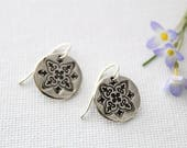Small Round Silver Flower Earrings