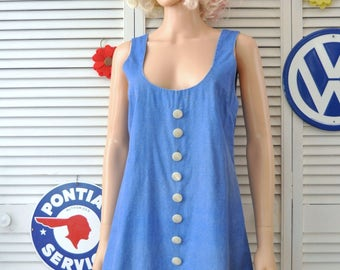Vintage 60s Scooter Dress/Mini Skirt Handmade Womens Teens Juniors Theater Costume Brady Girl A Line School Girl Uniform Small-Med 4-6 Blue