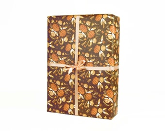 Brown and Apricot Floral Wrap