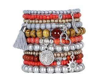 Beaded Bracelets Set of 11 Stretch Bracelets Bohemian Themed Stack with Silver Tone Charms and Tassel