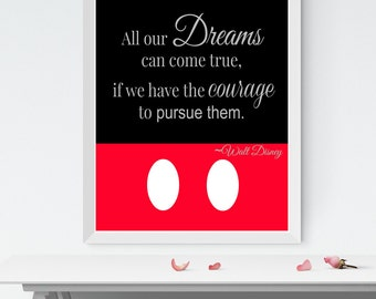 Printable Art, Walt Disney Quote Wall Art Print, All our dreams can come true, INSTANT DOWNLOAD