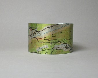 Catawba Mountain McAfee Knob Appalachian Trail Map Cuff Bracelet Unique Hiking Gift for Men or Women