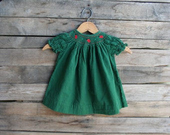 Vintage Green Lady Bug Girl Dress With Smocking Size 6 Months