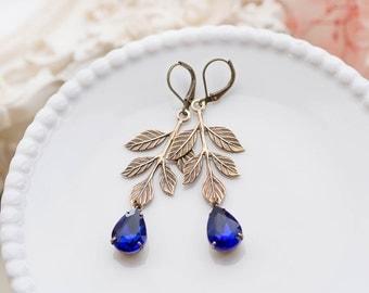 Brass Leaf Earrings Sapphire Blue Rhinestone Crystals Earrings, Woodland Garden Wedding Bridal Earrings, September Birthstone Jewelry
