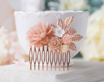 Rose Gold Bridal Hair Comb, Blush Wedding Hair Comb, Soft Pink Ivory Flower Rose Gold Leaf Hair Accessory, Nudes Natural Tones Hair Piece