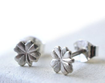 Silver Clover Earrings, Lucky Four Leaf Clover Charms in Sterling Silver, Women's Botanical & Plant Jewelry