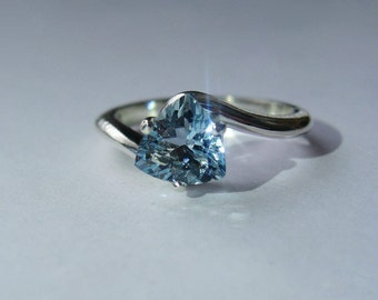 Trillion Aquamarine Ring In Sterling Silver, 1.10ct. Size 7.
