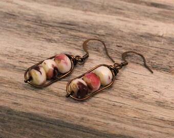 Czech Glass Earrings / Wire Wrapped Earrings / Patina Earrings / Raspberry Fushia / Opaque White / Rondelle Bead Earrings / Dangle Earrings