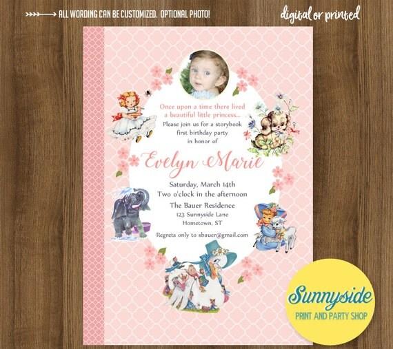 Storybook girls birthday party invitation with photo nursery rhyme il570xn filmwisefo