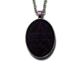 Necronomicon Necklace Pendant Black And Bluish Purple