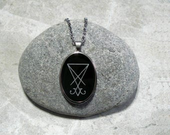 Lucifer Sigil Necklace Black And White Stainless Steel