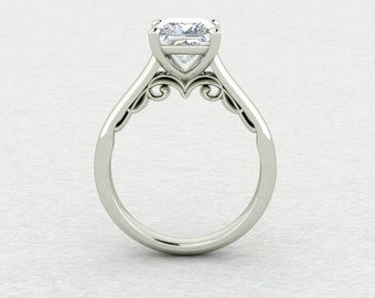 6.5mm Square Brilliant Cut Forever One Moissanite Classic Solitaire with beautiful scroll detail Engagement Ring LCDS035