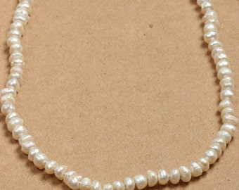 Ivory Pearl Necklace Freshwater Pearls Handmade Knotted 376 16H